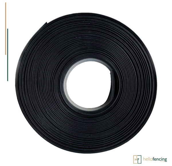 zappa rail roll. black zappa rail used in fencing for horses. It protects the horse while running, racing or playing around in the paddock.